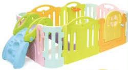 toddlers plastic slide with fence in home
